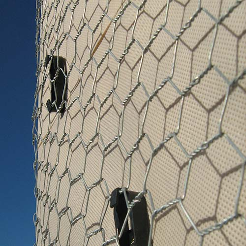 Flat Plaster Hex Wire Wall Netting on a wall